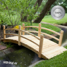 Large Garden Wood Bridge 6 Ft Outdoor Pond Walkway Backyard Creek Wooden Décor