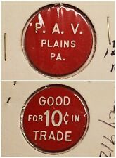 P A V Polish Am Vets Plains PA good for 10c in trade token gft584 R3 RARE