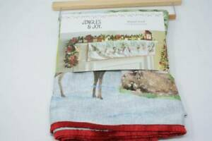 Jingles & Joy Christmas Mantel Scarf 24 x 58 Woodland Deer Beaded Sequin