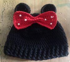 Gorro Con Orejitas Negro Crochet Recién Nacido Bebe 0/3 Meses Tipo Minnie Mouse