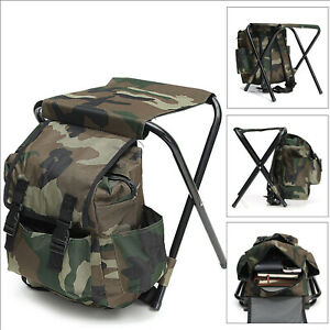 2in1 Oxford Fishing Tackle Backpack Bag Camping Foldable Stool Seat Chair Set