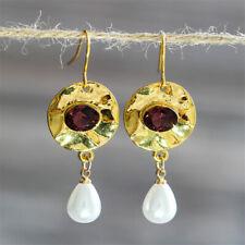 Gold Filled Ear Hook Dangle Jewelry Fashion Pearl Amethyst Earrings 18K Yellow