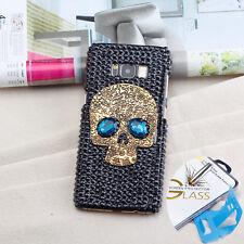 Galaxy S8 plus Case Skull Handmade Crystal Diamond Cover Full protecteur en verre