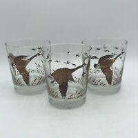 Vintage Mid Century Libbey Flight Canada Geese Double Old Fashioned Glass Set 3