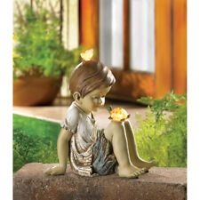 HOME YARD GARDEN DECOR MAKING FRIENDS SOLAR STATUE BOY TURTLE BUTTERFLY