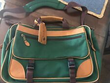 LL BEAN Canvas Leather Laptop Messenger Bag Briefcase Attache Travel army green
