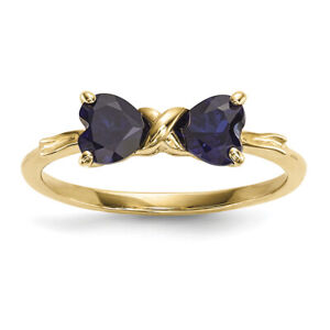 14k Gold Polished Created Sapphire Bow Ring Size 7 XBS534