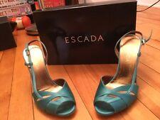 Escada Teal Blue Satin Slingback Heels With Buckle, Size 37.5 (EUR), 7.5 (US)