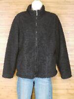 J. Jill Black Textured Full Zip Jacket Womens Size Small S EUC