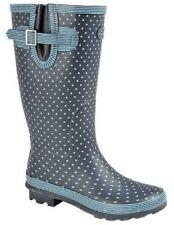 Wellies Stormwells Ladies Wide Calf Navy Polka Dot Rain Wellingtons Size 3-9