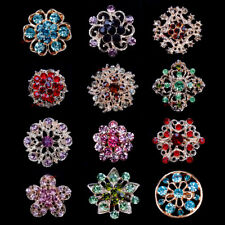 Lot of 20 - Small Flower Color Rhinestone Crystal Brooch Pin Wedding Bouquet