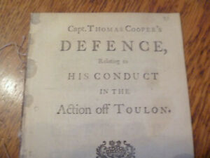 1746 Capt. Thomas Cooper's Defence, relating to conduct in the action off Toulon