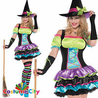 Womens Ladies Pop Neon Rainbow Colour Pretty Witch Halloween Fancy Dress Costume