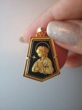 Damascene Gold Virgin Mary Pendant Necklace by Midas of Toledo Spain 030