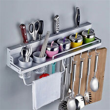 Kitchen Pantry Storage Rack Organizer Knife Slot Holder Spice Shelf Wall Mount