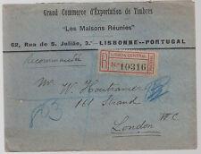 1906 Lisbon Portugal Registered cover England Stamp Dealer
