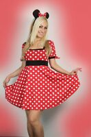 Sexy Womens Halloween ladies Minnie Red Mouse Fancy Dress Costume outfit S M L