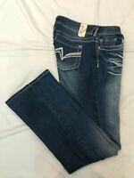 (*-*) VANITY * Womens Stretch CURVY Bootcut Blue Jeans / Denim Size 28 x 31