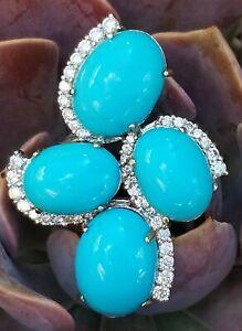 Vintage 14k Gold Turquoise Diamond Ring-Gemstone Ring-Large Estate Jewelry 15gm
