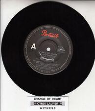 """CYNDI LAUPER  Change Of Heart 7"""" 45 rpm record BRAND NEW + juke box title strip"""