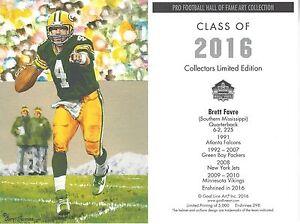 Brett Favre Green Bay Packers Hall of Fame Goal Line Art Card