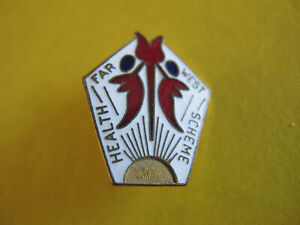 10/- Australia Sturt Pea Enamel Badge Far West Health Scheme Amor Sydney