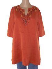 silmar fashion tunica blusa lunga donna arancione lino taglia m medium
