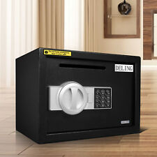 Electronic Safe Box W/ Code Emergency Key Home Security Steel Cash Gun Jewelry