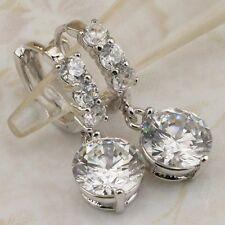 Hot Elegant Nice White 3.3ct CZ Gems Jewelry Gold Filled Huggie Earrings H1204