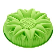 "10"" Sunflower Birthday Cake Pan Bread Pizza Gelatin Salad Shallow Silicone Mold"