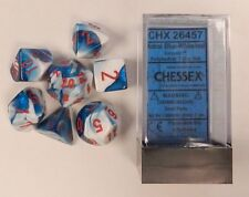 Chessex 7 Dice Set Gemini Astral Blue w/ Red CHX 26457 for D&D & D20
