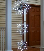 Waterproof Lighted Christmas Triple Snowflake Hanger with Timer NEW