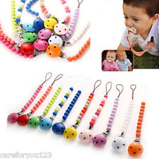 Baby Girls Boys Pacifier Soother Dummy Nipple Leash Strap Wood Chain Clip Holder
