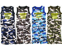 Boys Kids Camouflage Summer Vest T-Shirt Short Set Camo Army Print Outfits Sets