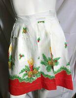 Vintage Printed Cotton Half Apron Womens MCM Mid Century Christmas Holidays