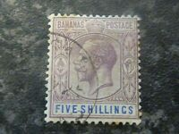 BAHAMAS POSTAGE STAMP SG88 FIVE SHILLINGS DULL PURPLE & BLUE VFU