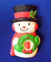 Hallmark PIN Christmas Vintage SNOWMAN WREATH Red Bird Holiday Brooch SIGNED