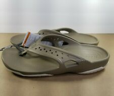 Crocs Men's Swiftwater Deck Flip Flop Sandals Size:11 Khaki/Stucco NWT  *New*