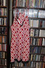 Mud Pie Red White Patterned sundress Gameday Dress black trim L NEW  (b108)