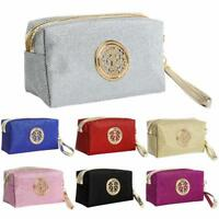 Fancy Vanity Bag Pouch With Metal Stylish Design Makeup Toiletry Handle Case New