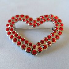 NEW brooch HEART open silver tone with small red stones love romance hippy pin