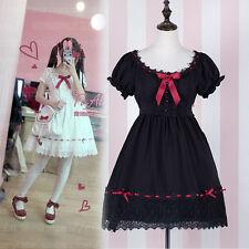 Japanese Sweet Lolita Kawaii Red Drawstring Lace White Dress Gothic Princess#U30
