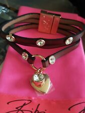 Bracelet With Gold Plating & Swarovski Bibi Bijoux Brown Leather Triple Strap