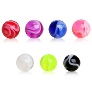10 Pack of UV Coated Marble Replacement Balls Spare Parts Piercing Jewellery