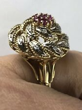 Antique 14K Gold Diamonds Ruby Cocktail RING,13.8 Grams