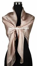 "New Large Oblong 42""x42"" Luxurious 100% Pure Silk Scarf Shawl Wrap, Blush"