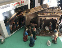Vtg Nativity Set #97893 11 Finely Crafted Figures Wood Stable Italy Sears