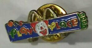 Vintage RARE McDonalds Play Place Ronald McDonald Face htf Logo Button Lapel Pin
