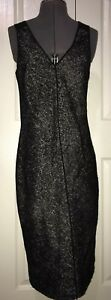 narciso rodriguez Dress Sleeveless Dbl Vneck Black Wool Mohair Blend Leather 8