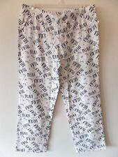 Gap Women's XL FaLaLa Print Lounge Pants PJs D/S 100% Cotton Off White New